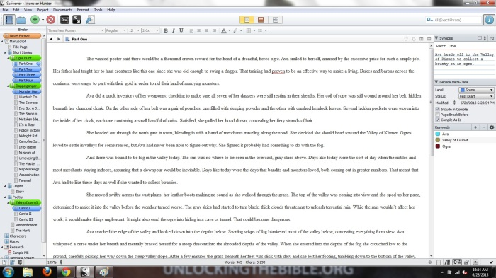 A screenshot of my Monster Hunter project in Scrivener.
